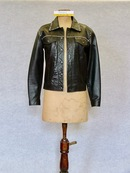 Jacket: Black polyester leather look jacket with black polyester lining