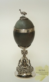 Decorative object - Metalcraft - Silverware, Silver Mounted Emu Egg Goblet with Emu Figure, c1855 - 1858