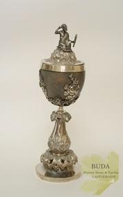 Metalcraft - Silverware, Silver Mounted Emu Egg Goblet with Aboriginal, c 1855-1858