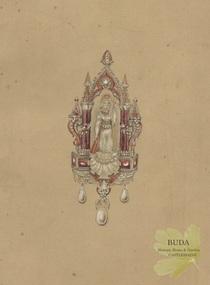 Drawing - Illustration - Design for Jewellery, Ernest Leviny - Britannia pendant jewellery design, c1851