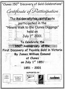 Recognition of participation in the miners walk to Clunes diggings