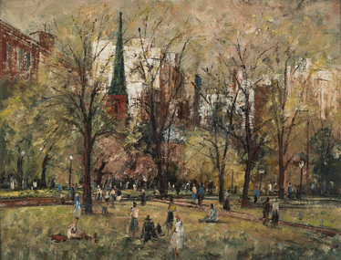 Painting, Lawrence, George, Spring Morning Hyde Park, 1961