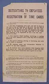 Sign, Instructions to Employees re Registration of Time Cards