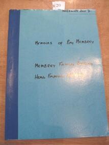 Book, Ray Cox, Memoirs of Raymond Membrey - Membrey Family History - Heal Family History, 1991