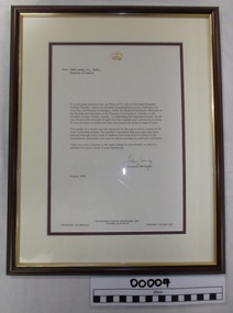 Letter from John Landy, Governor of Victoria, 2005