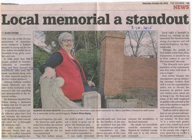 Ballarat Courier - Port Arthur Massacre, Tasmania, 1995 - Mary Howard died  - past trainee BBH. 20th Anniversary 2015