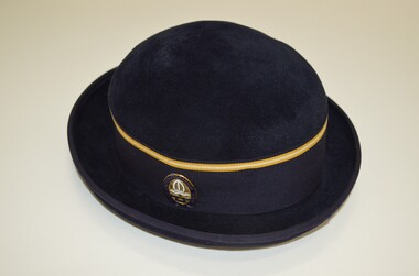 Navy blue felt bowler style hat with ribbon hat band.