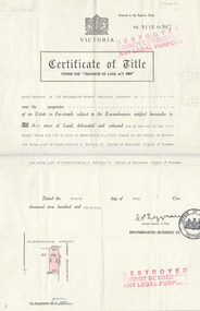Work on paper, Copy of the Certificate of Title for lot 138 Suspension street