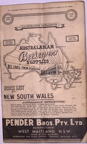 Publication, Australasian Beekeepers' Suppliers (Pender Bros. Pty. Ltd.)Catalogue, Amended June, 1947