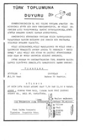Flyer, Turk Islam Cemiyeti, Turk Toplumu Duyuru, 1974