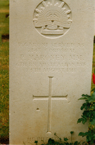 Photograph of WW1 Grave Daours France - soldier Peter Garoni, Military Medal and Bar (known as Peter Moroney)