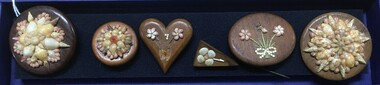Decorative object - Brooch, Set of six Wood and Shell Brooches, 1942