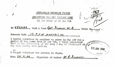 Document, Recruiting for the Interim Army - Corporal W E Brown