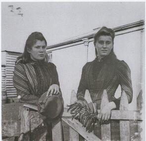 Black and white photograph, Alice and Eva Veale of Lake Bolac