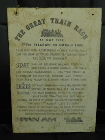 Great Train Race Sign, 1982