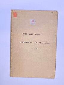 Publication, Bees And Honey (Dept of Agriculture NSW)