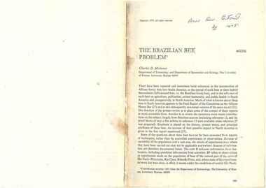 Publication, Michener, C. D, The Brazilian bee problem (Michener, C. D.), Palo Alto, 1975