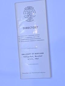 Publication, Apimondia XXI Congress Directory (University Of Maryland - College Park, Maryland USA, 1967), 1967