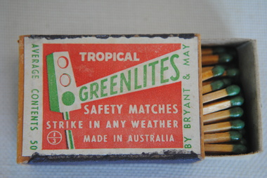 """Safety Matches, Bryant & May, """"Tropical Greenlites"""", 1st half of 20th Century"""