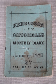 Book, Fergusson & Mitchell, Fergusson and Mitchelll's Monthly Diary: January, 1880, January 1880