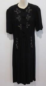 Dress, black crepe, 1940s