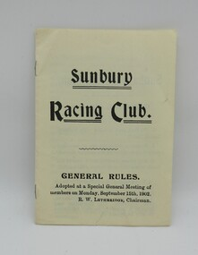 Booklet, SUNBURY RACING CLUB, 1902