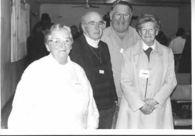 000904 - Photograph- Inverloch Historical Society Office Bearers 1996- left to right Nancye Durham - Ken Howsam - Norm Deacon - Bonnie Crawley - 25th June 1997 - from Nancye Durham