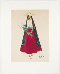 Painting, Illustration of a Woman in Traditional Dress from Patzcuaro, Michoacán, Mexico, c.1953