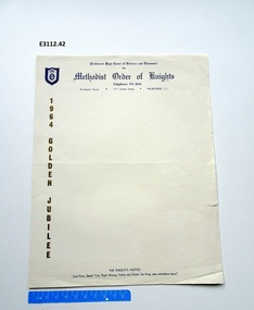 Letter - Form, Methodist Order of Knights letterhead writing paper 1964 Golden Jubliee
