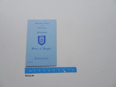 Membership card, Methodist Order of Knights