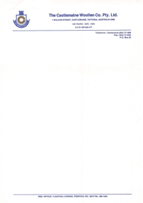 Document, Castlemaine Woollen Co. Letterhead