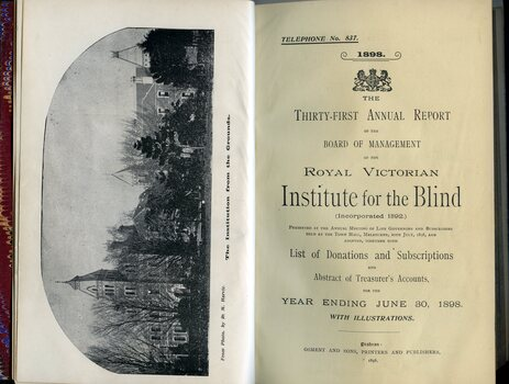 Title page of report and picture of building from St Kilda Road