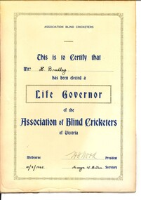 Text, Life Governor of the Association of Blind Cricketers of Victoria certificate, 1962
