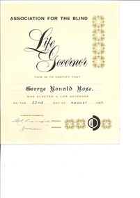 Text, Life Governor of the Association of Blind, 1967