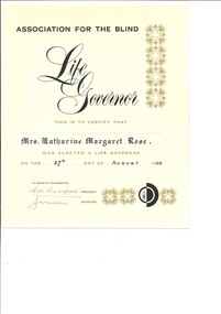 Text, Life Governor of the Association of Blind, 1963