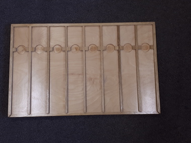 Wooden board with card dividers with accompanying printed and braille booklet