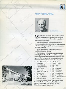 Portrait of Vision Victoria Appeal Chairman Arnold Hancock and illustration of proposed building.