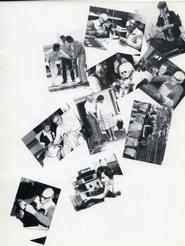 Various photographs of members enjoying activities, with staff members and volunteers.