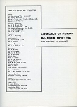 Title page of annual report with list of office bearers and committee