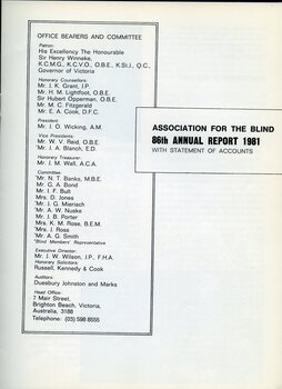 Title page of annual report with office bearers and committee list