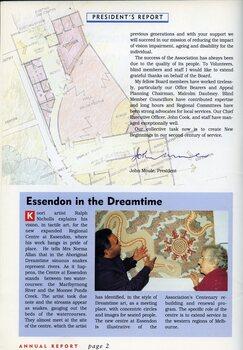 Ralph Nicholls explains an aboriginal art work to Norma Allan at Essendon.