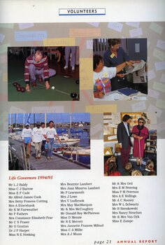 A man measures during a game of carpet bowls.  Two 3RPH volunteers with newspapers. Four men walk along a pier filled with sailboats.  A blind woman, with white cane, speaks to school children.