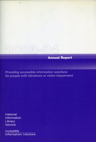 """Purple and white front cover with the words """"proving accessible information solutions for people with blindness or vision impairment"""""""