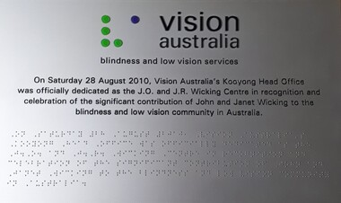 Black writing on silver background with Vision Australia at top
