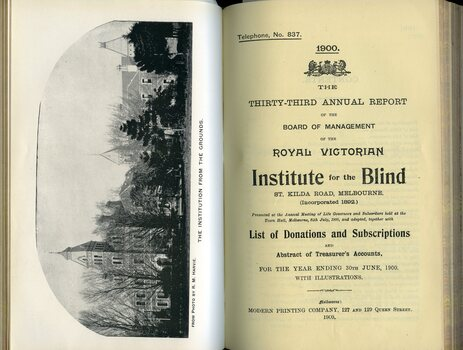Front page of report and illustration of building from St Kilda Road
