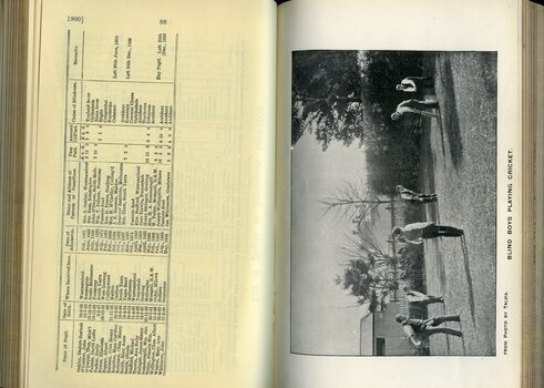 List of Pupils in the Institution and photograph of boys playing cricket