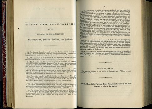 Rules and Regulations of Institute for Superintendent, Inmates, Teachers and Servants