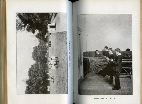 Photographs of the girls playground and boys making nets