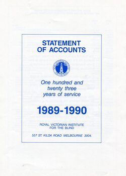 Front page of blue writing on white background