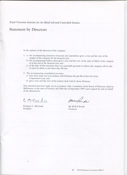 Signed Statement by the Director's